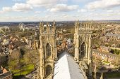 YORK, UK - MARCH 30: Roof of York Minster overlooking city. The Minster dates back from 1291 March 3