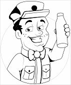 stock photo of milkman  - Drawing Art of Cartoon Milkman Character Sketching Vector Illustration - JPG
