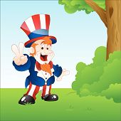 Happy Uncle Sam in Garden