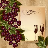 Elegant Menu Design For Restaurant With Cluster Of Grapes And Wine On Wooden Background