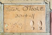 Handprints Of Peter O Toole In Hollywood Boulevard In The Concrete Of Chinese Theatre's Forecourt