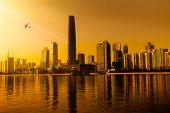 Zhujiang River and modern building of financial district in guangzhou china.