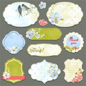 Collection of vintage labels with spring flowers and swallows with an empty seat for your text, vect