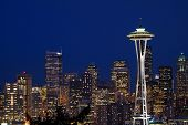 stock photo of view from space needle  - classic night time view of the seattle skyline from kerry park - JPG