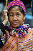 Black H'mong minority woman in the Bac Ha market, Vietnam