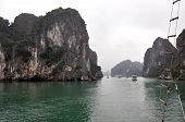 Scenic view of mountain island in Halong Bay, Vietnam