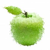 Green apple with leaf of blots vector isolated on white