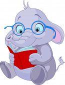 Niedliche Elefanten mit Brille, ein Buch zu lesen.