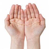 Two Empty Female Teen Hands Pleading