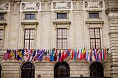 International flags on  HOFBURG Vienna Congress Center