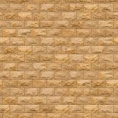 Seamless Texture of Yellow Sandstone Brick Wall.