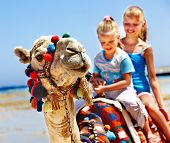 foto of humping  - Tourists children riding camel  on the beach of  Egypt - JPG
