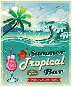 illustration of vintage seaside tropical bar sign