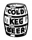 Cold Keg Beer - Retro Clip Art Illustration