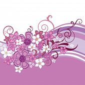 Pink and white flowers and swirls border isolated on white background. This image is a vector illustration.