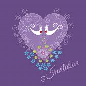 Purple invitation with two love birds, heart ornament, swirls and flowers. This image is a vector illustration.