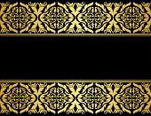 picture of brocade  - Floral borders with gilded embellishments in retro style - JPG