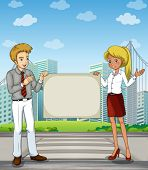 Illustration of a man and a woman at the pedestrian lane holding an empty signboard