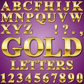 An Alphabet Sit of Shiny Gold Metal Letters and Numbers