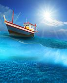 fishery boat floating on blue sea wave with sun shining on blue sky