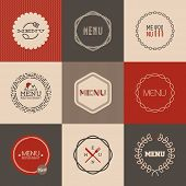 Labels' Set For Restaurant Menu Design. Vector Illustration