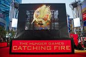LOS ANGELES, CA - NOVEMBER 18: The entrance to the premiere of The Hunger Games: Catching Fire at th