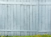 Old wooden fence and green grass