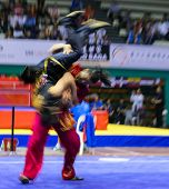 KUALA LUMPUR - NOV 05: Members of Malaysia's dalian team performs a fight scene in the Men's Dual Ev