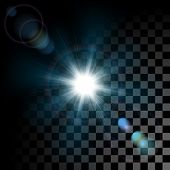 Vector glowing light effect star bursts with sparkles on transparent background. Transparent sun bea