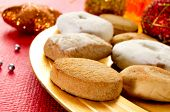 closeup of a tray with mantecados and polvorones, typical christmas sweets in Spain