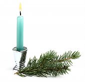 Candle With Christmas Tree Branch.