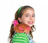 breeder hens kid girl rancher farmer playing with chicken chicks white background