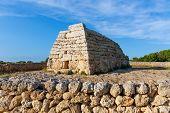 foto of megaliths  - Menorca Ciutadella Naveta des Tudons megalithic chamber tomb In Balearic islands - JPG