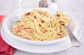 stock photo of carbonara  - pasta carbonara - JPG