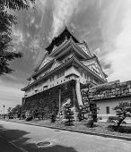 Wideangle Photo Of The Main Keep Of Osaka Castle  In Osaka, Japan.