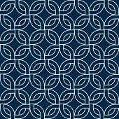 Abstract geometric woven squares seamless pattern in blue and white, vector