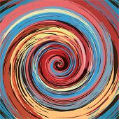 Abstract vintage colorful paint swirl vector background.