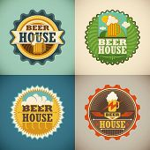 Set of beer house labels. Vector illustration.