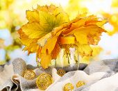 Bright autumn leafs in vase on wooden table on natural background