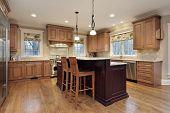 Modern kitchen with double decker island