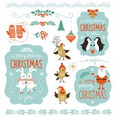 Set of Christmas lettering and graphic elements, cute cartoon animals, vector illustrations for greeting cards