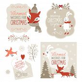 stock photo of rabbit year  - Set of Christmas graphic elements - JPG