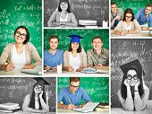 Collage of smart students on background of blackboard with formula
