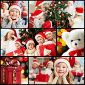 Collage of adorable kids in Santa caps on xmas evening