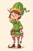 Christmas elf character. Vector illustration.