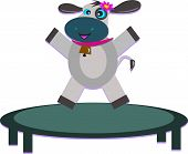 Cute Cow Bouncing on a Trampoline