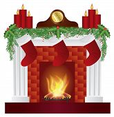 Fireplace With Christmas Decorations