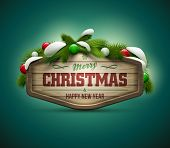 Vector realistic illustration of wooden christmas message board. Elements are layered separately in vector file. Easy editable.