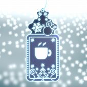 Magic Christmas Label With Coffee Sign