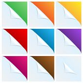 Set Of Angles Of White Paper With A Colored Background.white Corners.vector